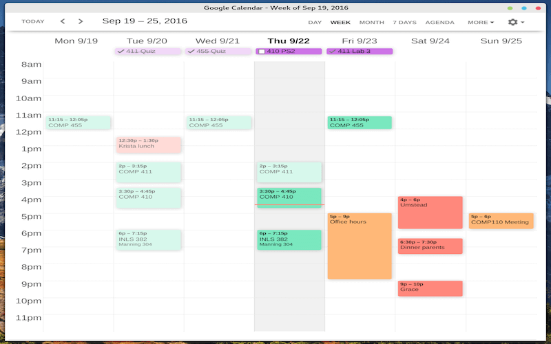 Clean Google Calendar Chrome App