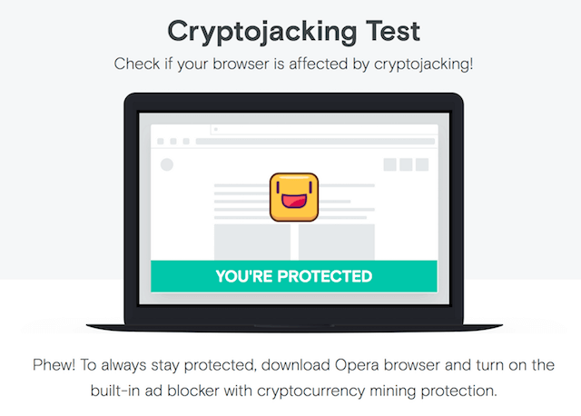 Cryptojacking Test for Web Browsers